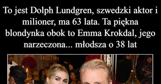 To jest Dolph Lundgren, szwedzki aktor i milioner, ma 63 lata. Ta piękna blondynka obok to Emma Krokdal, jego narzeczona...